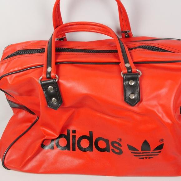 Vintage 70s Adidas Originals Leather Weekender Bag b1e6b7ba0f7d5